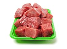 Huge red meat chunk. Isolated over white background stock image