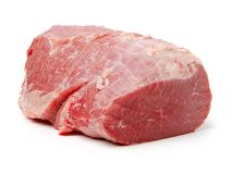 Huge red meat chunk. Isolated over white background royalty free stock image