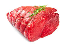 Huge red meat chunk. Isolated over white background royalty free stock photography