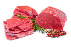 Huge red meat chunk and steak royalty free stock image