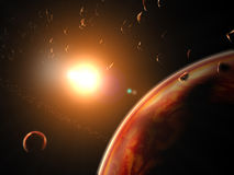 Huge red planet. With asteroids Royalty Free Stock Images