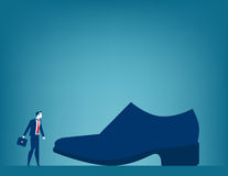 Huge responsibilities. Businessman with large shoe. Concept busi. Ness illustration Stock Image