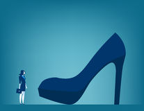 Huge responsibilities. Businesswoman with large shoe. Concept bu. Siness illustration Stock Images