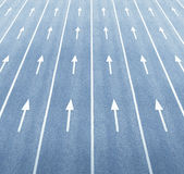 Huge road and arrows. Multiple arrows and lane markings Royalty Free Stock Photography