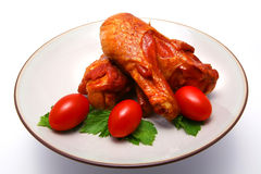 Huge roast chicken wing and vegetables Royalty Free Stock Photography