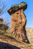 Huge rock blocks like mushroom against the blue sky. Crimea, Ukr Royalty Free Stock Photos