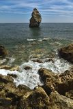 Huge rock at the cliff beach of Praia da Marinha, lovely hidden beach near Lagoa Algarve Portugal stock photography