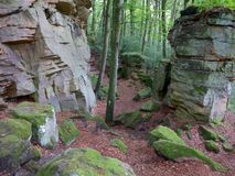 Rocks on the Mullerthal Trail in Berdorf, Luxembourg. Huge rock formations on the internationally awarded Müllerthal Trail in Berdorf, Luxembourg, Europe royalty free stock images