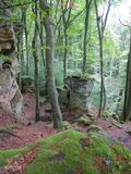 Huge Rock on the Mullerthal Trail in Berdorf, Luxembourg. Huge rock formations on the internationally awarded Müllerthal Trail in Berdorf, Luxembourg, Europe stock photos