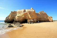 Huge rock at Praia da Rocha Portugal Royalty Free Stock Photography