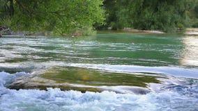 Huge rock in river. stock video footage