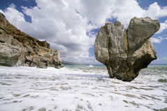 Huge rock in the sea. Crete, Greece Royalty Free Stock Images