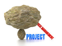 Huge rock on top of a small stone risk management Royalty Free Stock Photos