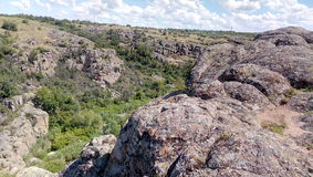 Huge rocks of Aktovo canyon. View from the top of canyon Stock Photo