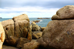 Huge rocks on the beach, Unawatuna Royalty Free Stock Images