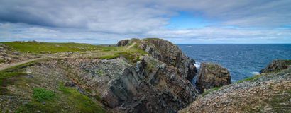 Huge rocks and boulder outcrops along Cape Bonavista coastline in Newfoundland, Canada. Huge rock & boulder outcrops along Cape Bonavista coastline in Stock Photography