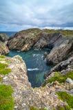 Huge rocks and boulder outcrops along Cape Bonavista coastline in Newfoundland, Canada. Stock Images