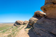 Huge rocks on the Holy mountain Big Bogdo. Huge stones on the Holy mountain Big Bogdo, Nizhniy Baskunchak, Arkhangelsk oblast, Russia royalty free stock images