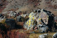 Huge rocks in the landscapes of Altai mountains, Altai Republic Royalty Free Stock Photo