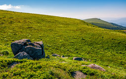 Huge rocks on top of mountain ridge. Mountain summer landscape. meadow with huge rocks among the grass on top of the hillside near the peak of mountain ridge Royalty Free Stock Images