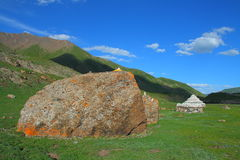 Huge rocks and white Marnyi Stones on Tibetan Plateau Stock Photos