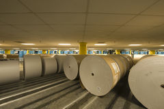 Huge Rolls Of Paper In Newspaper Factory Royalty Free Stock Images
