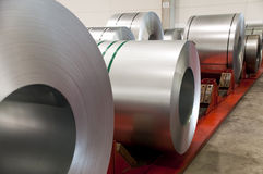 Huge rolls of tinplate. In the factory Stock Images