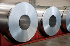 Huge rolls of tinplate. In the factory Royalty Free Stock Image