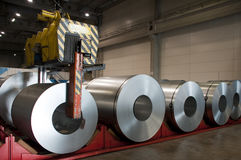 Huge rolls of tinplate. In the factory Royalty Free Stock Photos