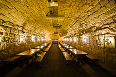 The huge room full of wooden tables decorated with brick walls and vintage lamps. Stock Image