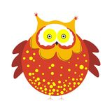 Huge round owl with brown plumage with tassels on head. Huge round owl with brown dotted plumage with tiny tassels on head, short wings and small claws isolated Royalty Free Stock Photography
