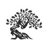 Huge and sacred oak tree silhouette logo badge isolated on white background. vector illustration