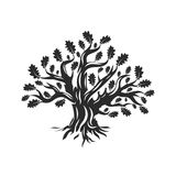 Huge and sacred oak tree silhouette logo isolated on white background. vector illustration
