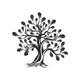 Huge and sacred oak tree silhouette logo isolated on white background. Royalty Free Stock Image