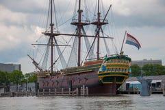 Huge sailing boat amsterdam stock photography