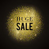Huge sale. Abstract vector stippling texture brush. Sale template. Gold background sale Stock Photos