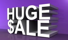 Huge sale text. 3D computer generated words HUGE $ALE in white with the S in sale replaced with a dollar sign, isolated on a dark purple reflective floor and vector illustration