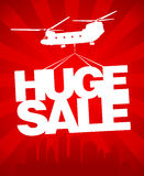 Huge sale vector design template. Huge sale carried by a helicopter above the city. Vector design template Royalty Free Stock Photography