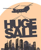 Huge sale vector design template. Huge sale carried by a helicopter above the city. Vector design template Royalty Free Stock Image