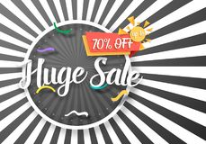 Huge Sale Vector Poster with Sunburs Lines on Background. Bright Sale Flyer Template. Illustration of Huge Sale Vector Poster with Sunburs Lines on Background Royalty Free Stock Image