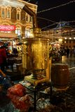 A huge samovar `Olympian` at the Christmas and New Year`s fair near GUM on Red Square. Royalty Free Stock Images