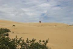 Huge sand dune and lighthouse, Denmark. Royalty Free Stock Photos