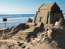 Huge sandcastle on the beach of arkoudi in greece Stock Image