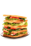 Huge sandwich. On white background Royalty Free Stock Images