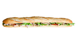 Huge Sandwich Baguette. A long sandwich baguette, isolated on a white background Royalty Free Stock Image
