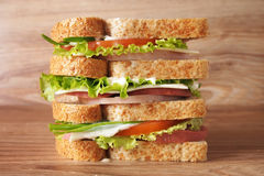 A huge sandwich. With ham, sausage, cheese, tomatoes and herbs Stock Images