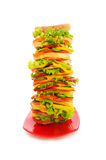 Huge sandwich isolated. On the white background Royalty Free Stock Photo