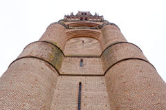 Huge Santa Cecilia cathedral from down in Albi Royalty Free Stock Image