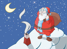 Huge Santa Claus. Is thinking how to get through narrow flue royalty free illustration