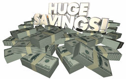 Huge Savings Money Cash Piles Sale Discount Offer Stock Images